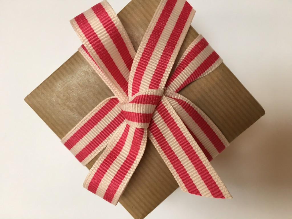 Kraft giftwrap and striped ribbon