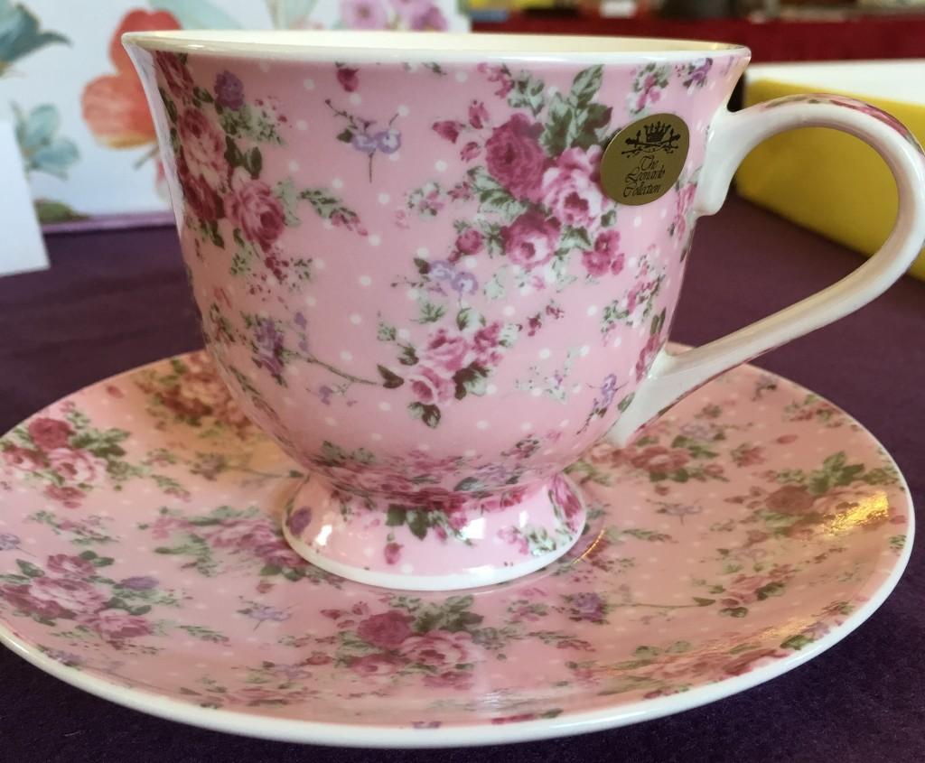 Pink China teacup and saucer