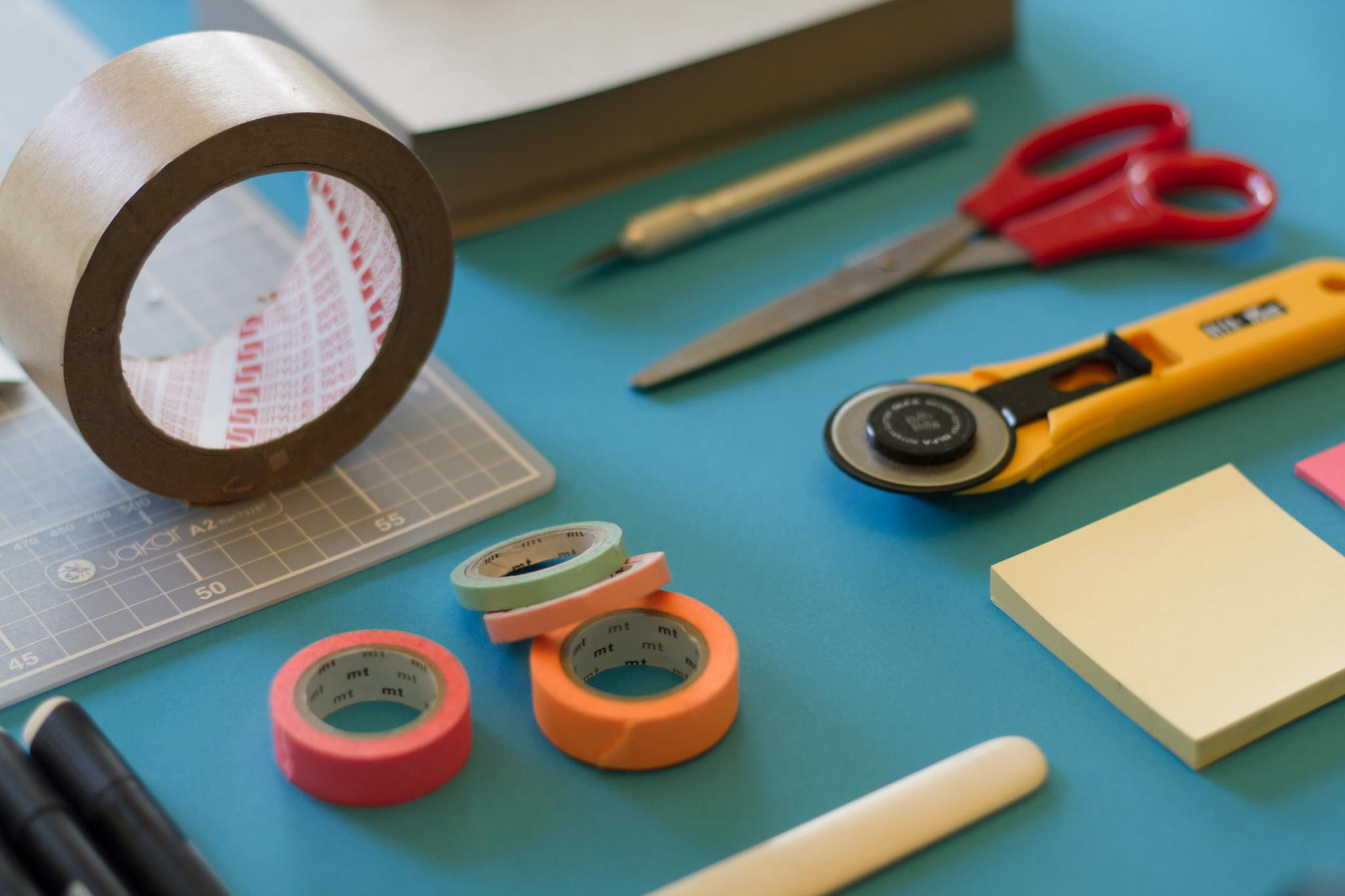 Sticky tape, scissors - things you might need for a handmade project