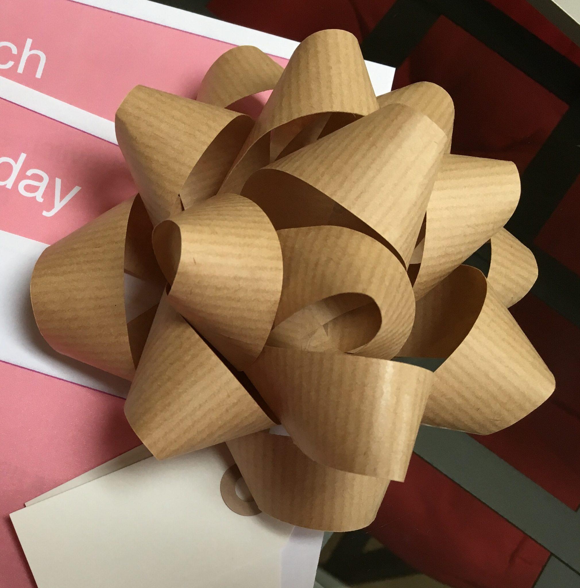 A handmade kraft paper bow
