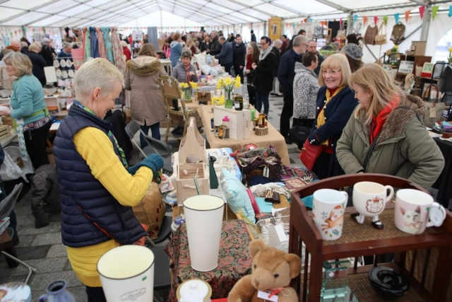 Traders & shoppers inside the marquee at Stockton Chic Vintique 7th April
