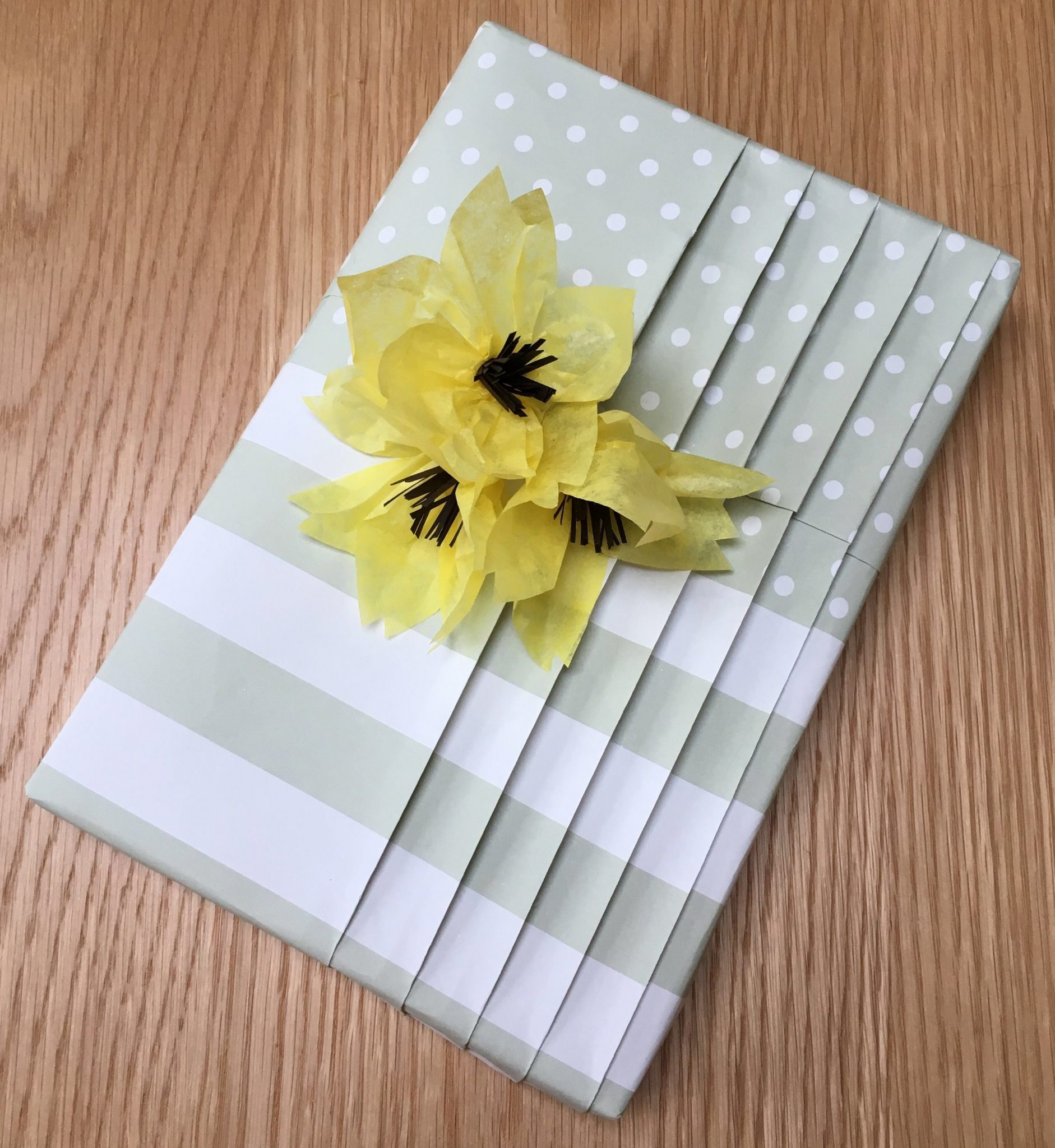 Japanese pleating with a pocket using Jane Means giftwrap with decorative paper flowers