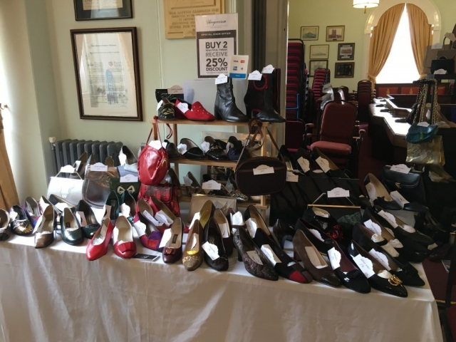 Vintage shoes on display in the Town Hall in Richmond