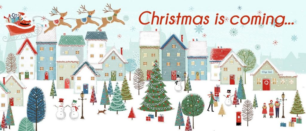 Images of Christmas, trees, snowmen, presents promoting the Christmas Flamingo Paperie Range
