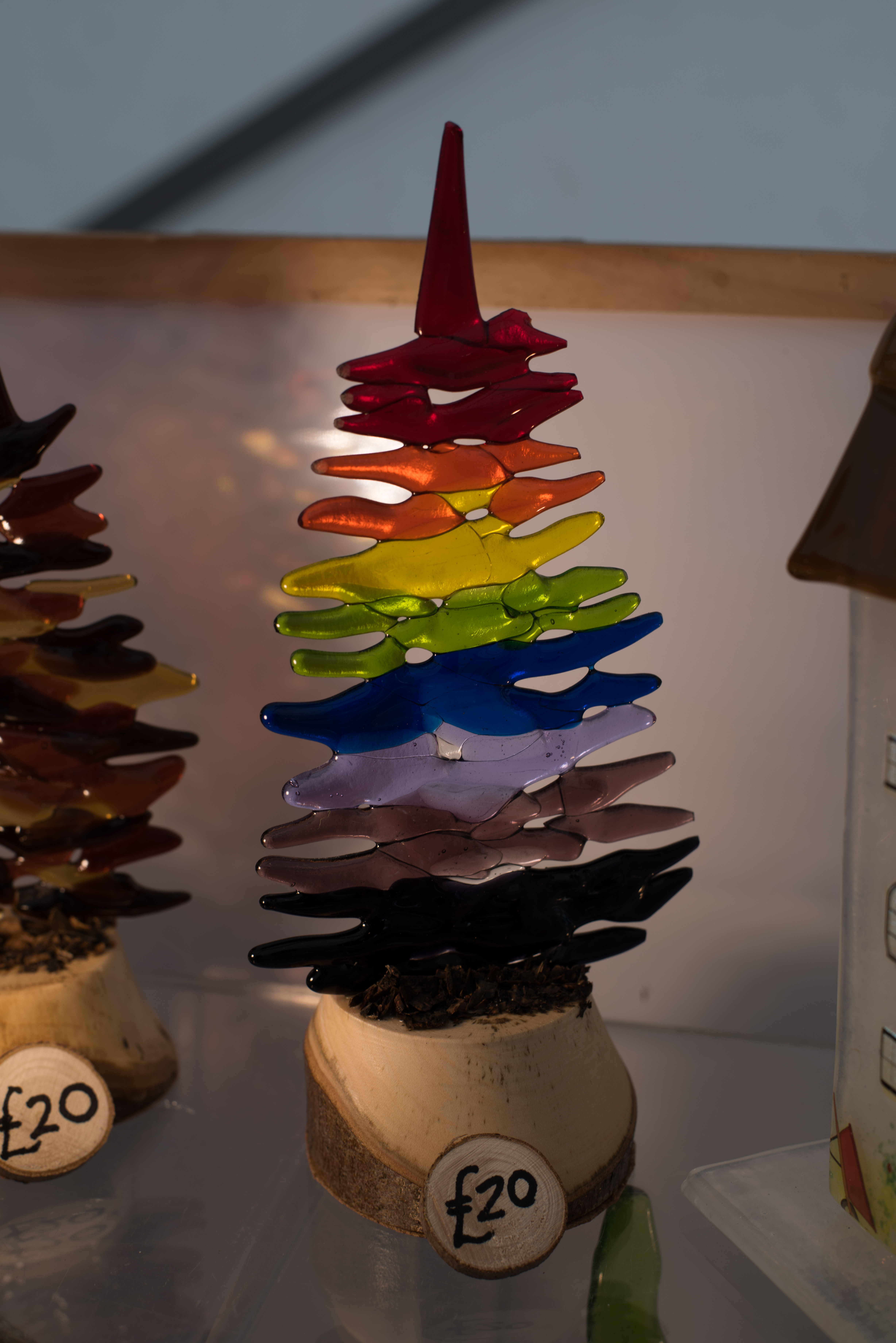 Coloured fused glass in the shape of a tree