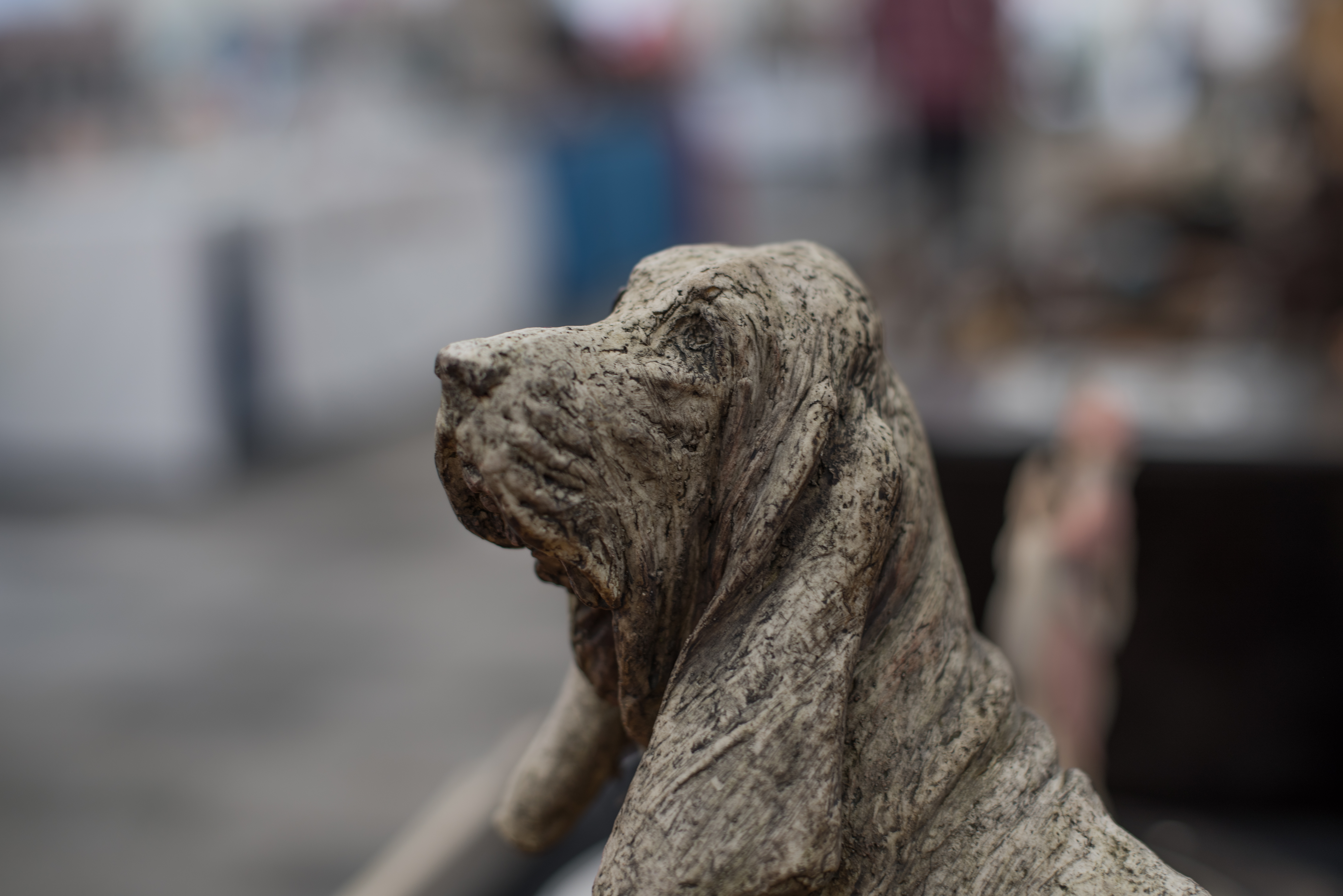 A stone dog ornament on display at Stockton Chic Vintique 6th April 2019