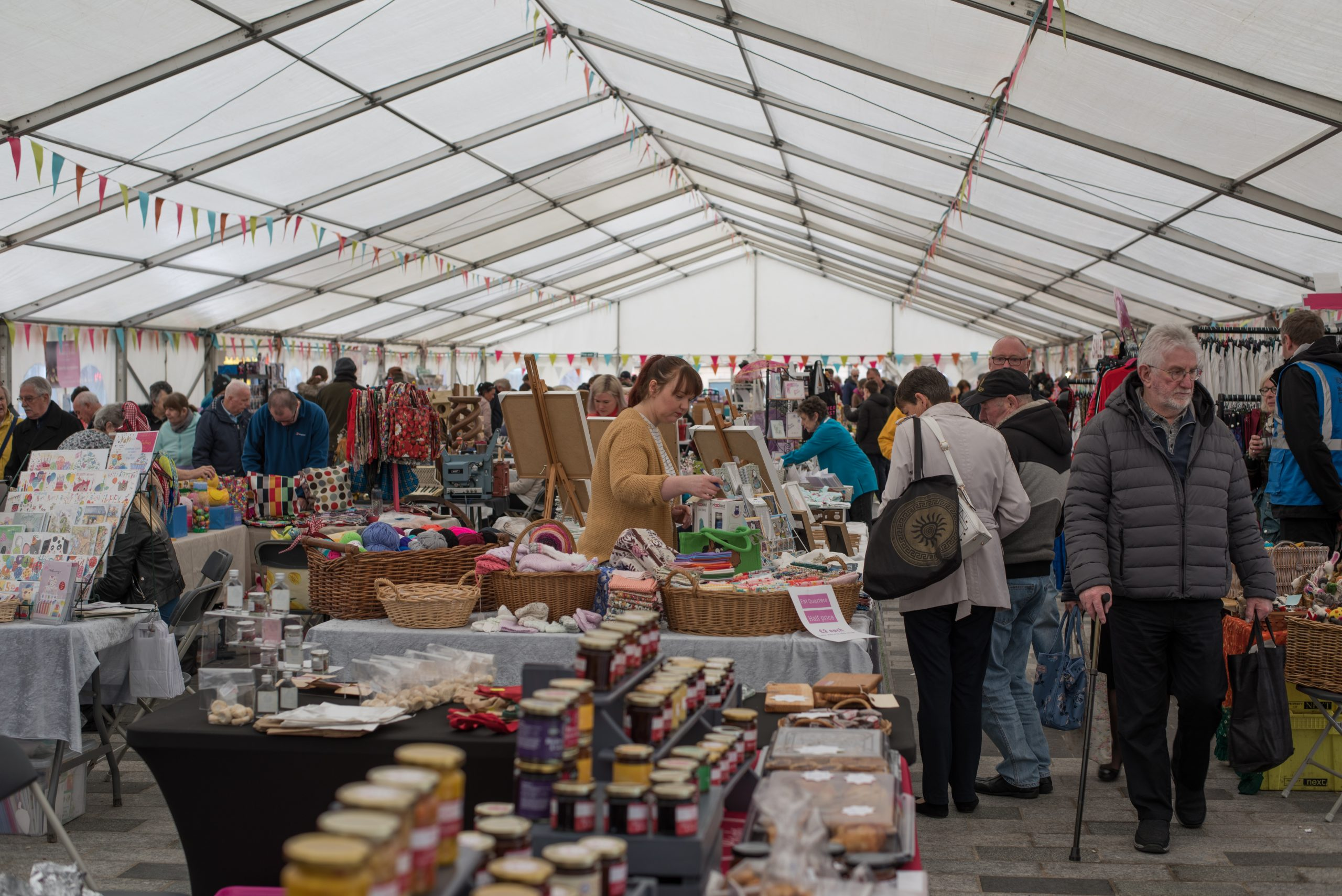 Inside the marquee at Stockton Chic Vintique 6th April