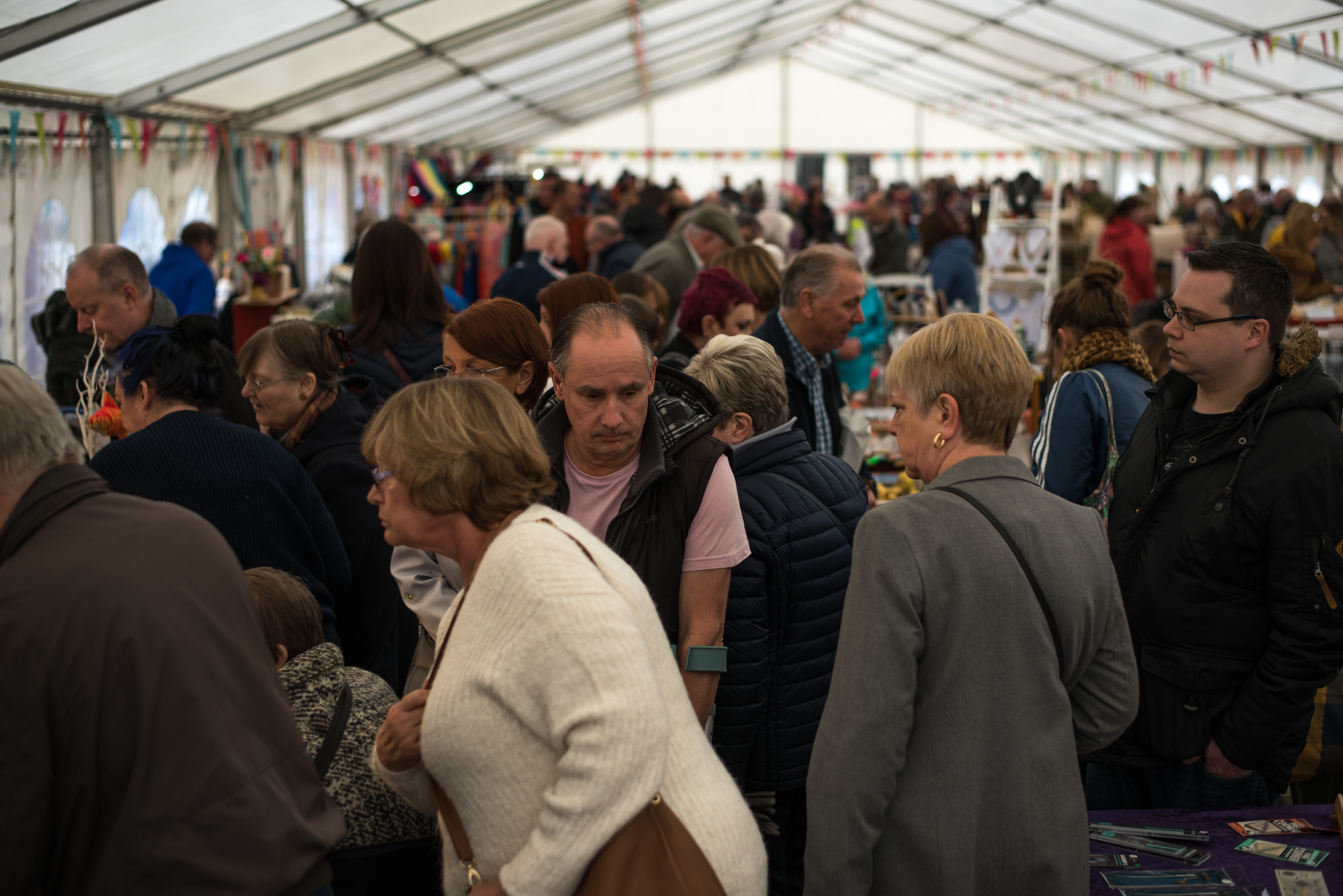 looking down the length at home busy the marquee is at Stockton Chic Vintique 6th April