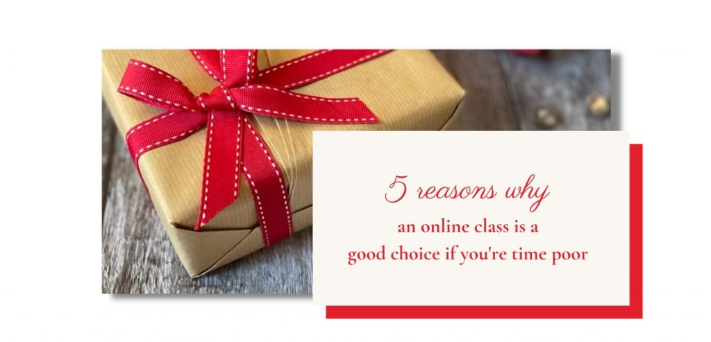 Kraft paper parcel with a red bow and text '5 reasons why an online class is a good choice if you're time poor