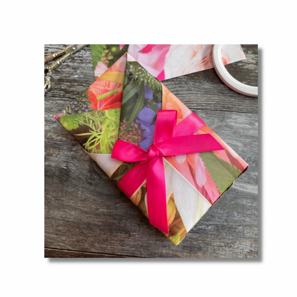 Use bright wrapping paper to make a bold statement this summer. Tip 5 of 5 simple ideas to make your gifts stand out this summer